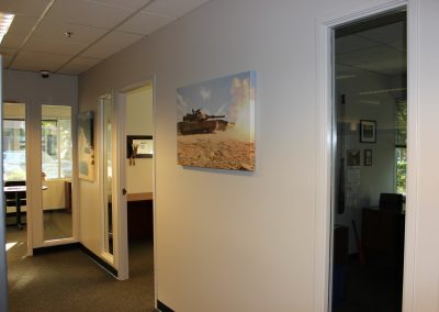 Hallway Image of VA Loan Center with Photo of Military Tank